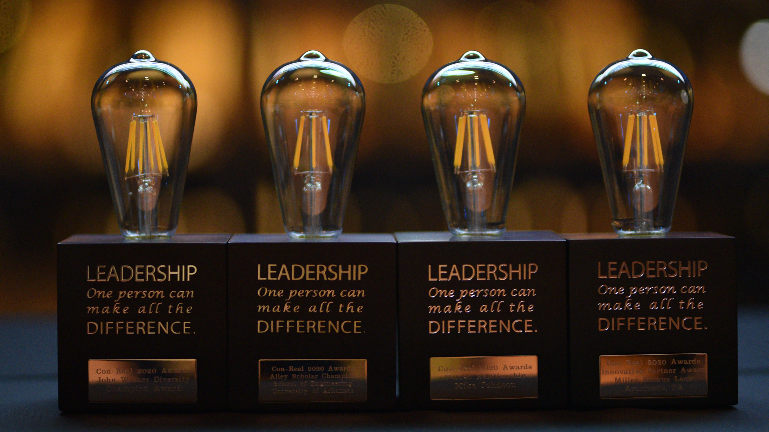 """4 awards that look like light bulbs in a row, the awards say """"Leadership - one person can make all the difference."""""""