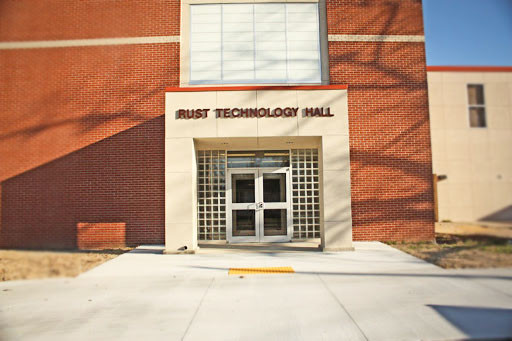 Exterior of the Rust Technology Hall on a sunny day