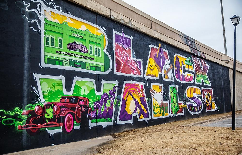 Black Wall Street mural in Tulsa, Oklahoma.