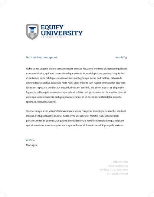 Equify University Letterhead