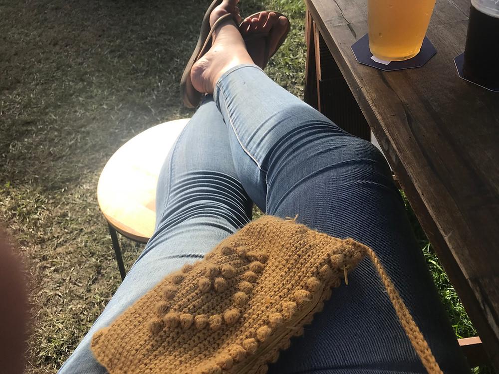 Tired Legs. Cute Handbag.