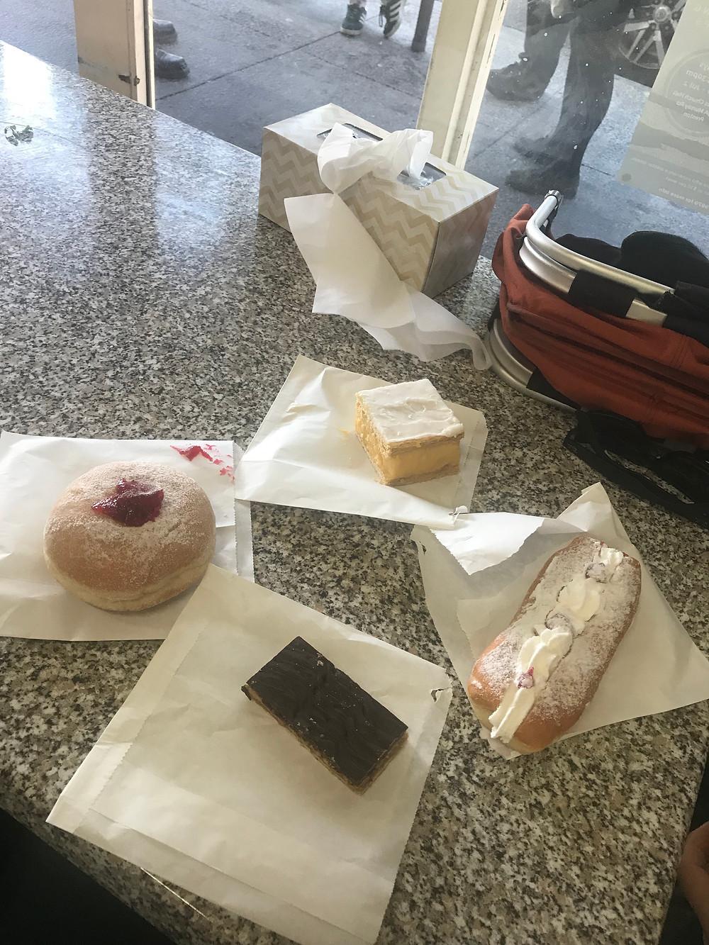 Jam donut, vanilla slice, cream donut & caramel slice