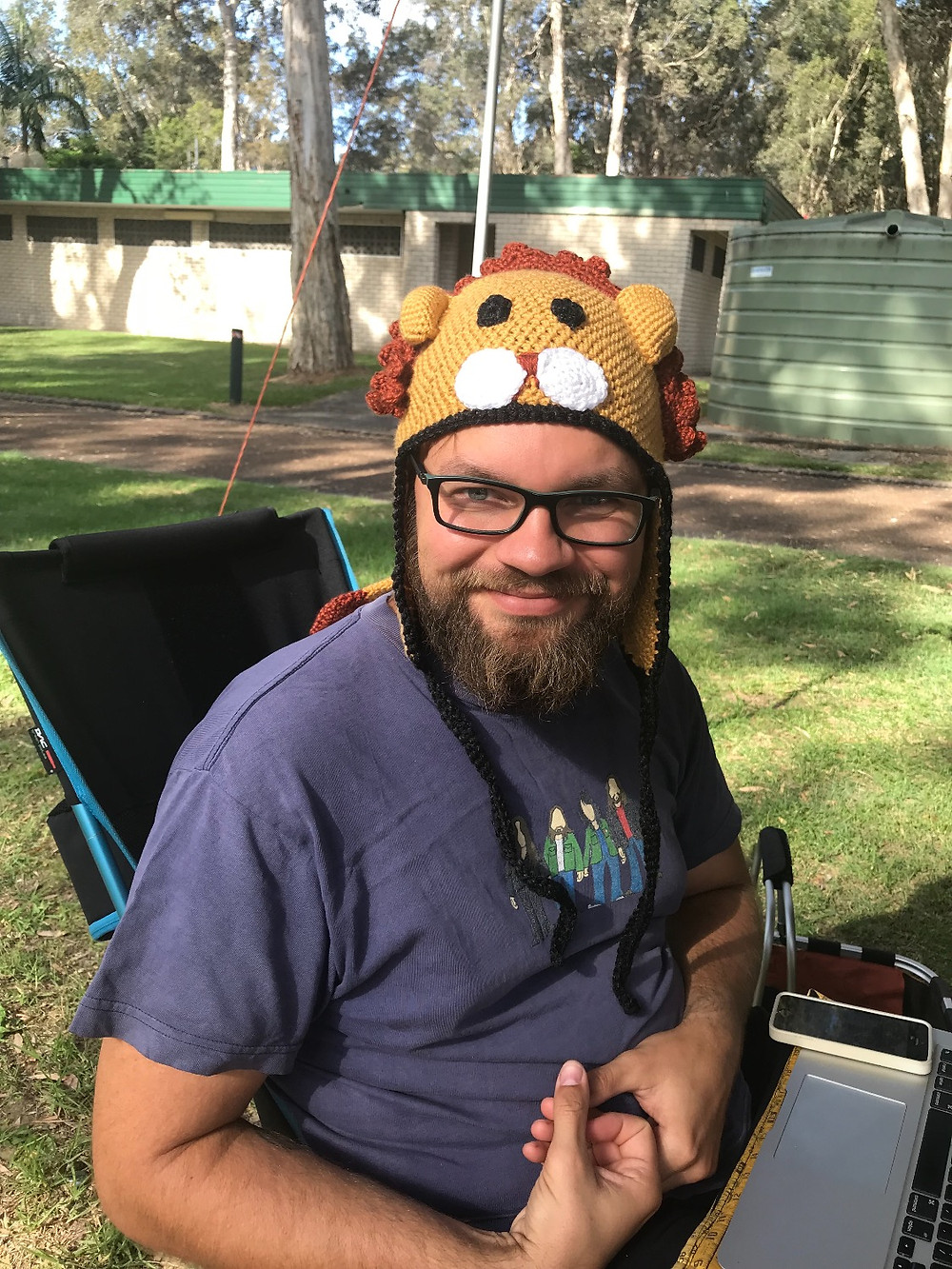 Crocheted lion beanie made by Ruth