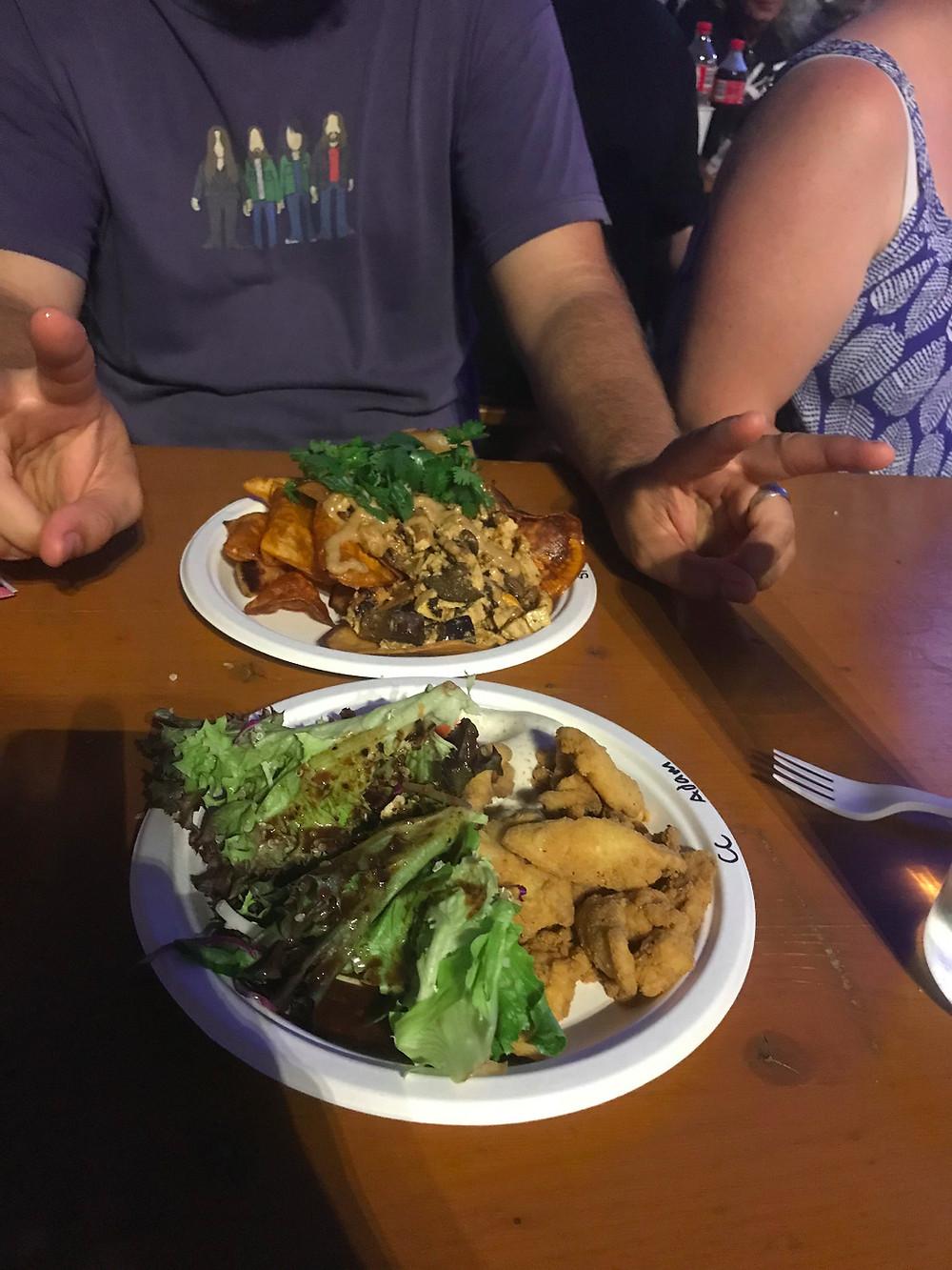 Young Coconut Calamari and Vegan Nachos