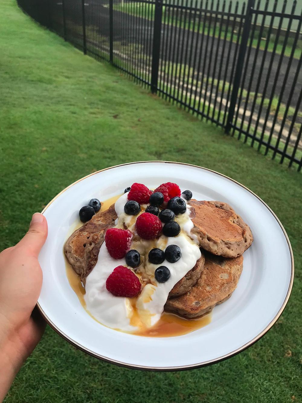 Rain = Food. Protein pancakes!