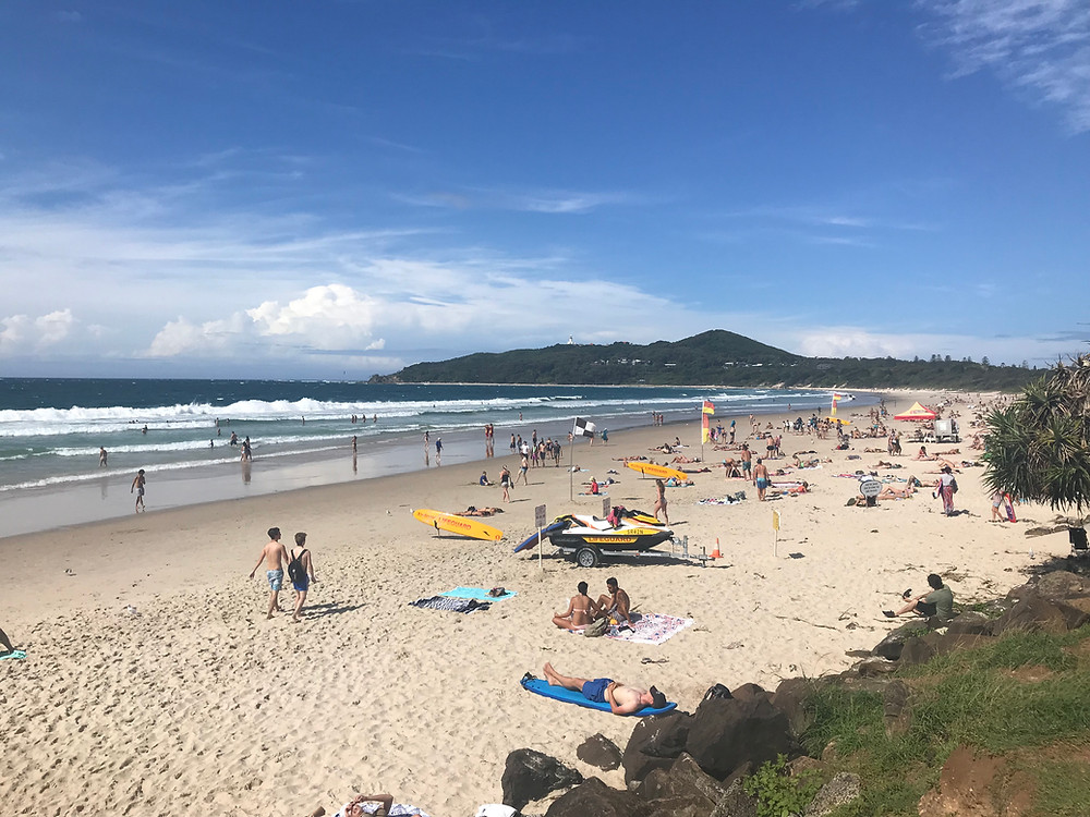 Very Crowded Beach at Byron