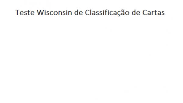 WCST Bloco com 25 folhas - Teste Wisconsin Classificação de Cartas