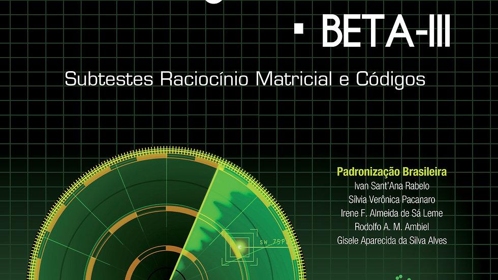 BETA III - Teste Não Verbal de Inteligência Geral: KIT COMPLETO