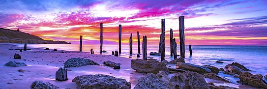 Port Willunga Pylons sunset Historic South Australia