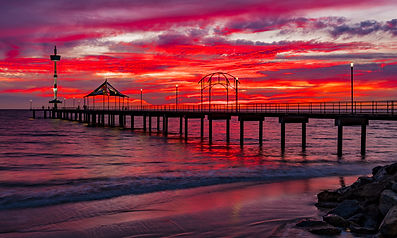 Brighton Jetty Winter Reds Sunset Historic south australia fineart photography Mark Gary Weston creativelightartist.com