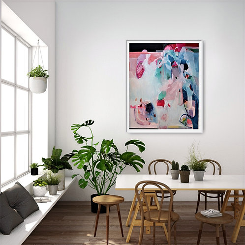 original fine art maurice reidy, pink abstract, vibrant oil paintings, fine art, contemporary living,