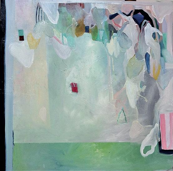 gree oil paint, pink oil paint, abstract oil painting. irish artist, maurice , art on instagram. contempora framed irish.
