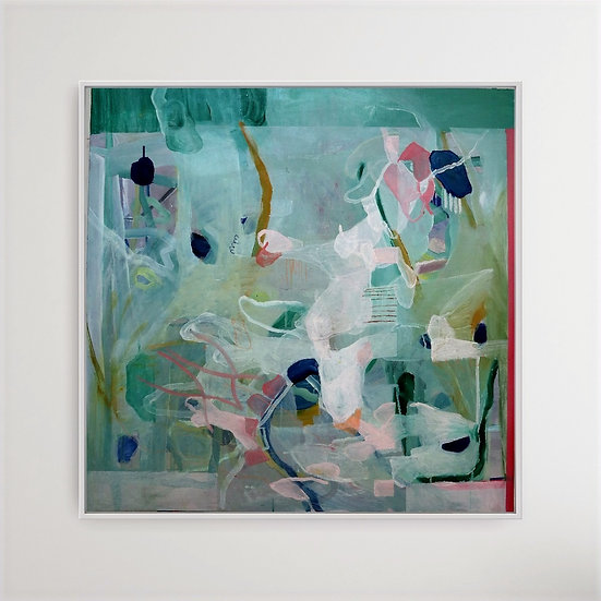 green, pink. blue, abstract, white