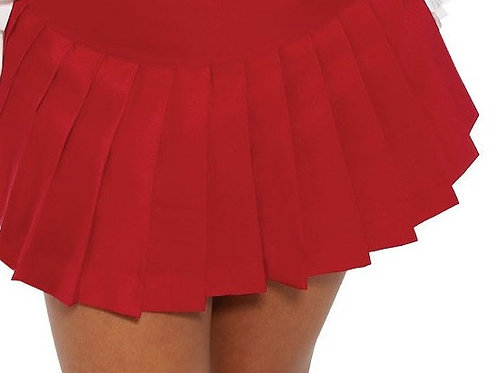 Solid Red Pleated Plaid Skirt~School Girl Plus Size Red Hot Skirt~