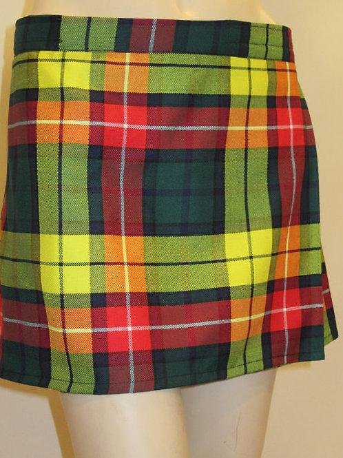 Buchanan Mini Kilt~Ladies Hiking Mini Yellow Green Red Plaid Kilt~