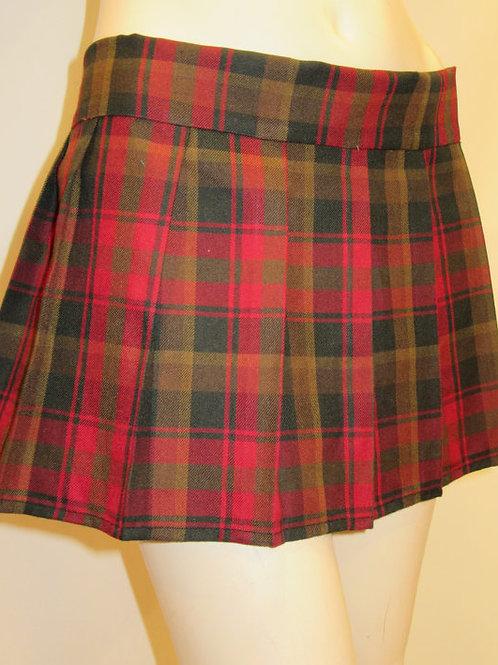 Maple Leaf Taran Plaid Pleated Skirt~Red Gold Color Pleated Plaid Skirt~Mini