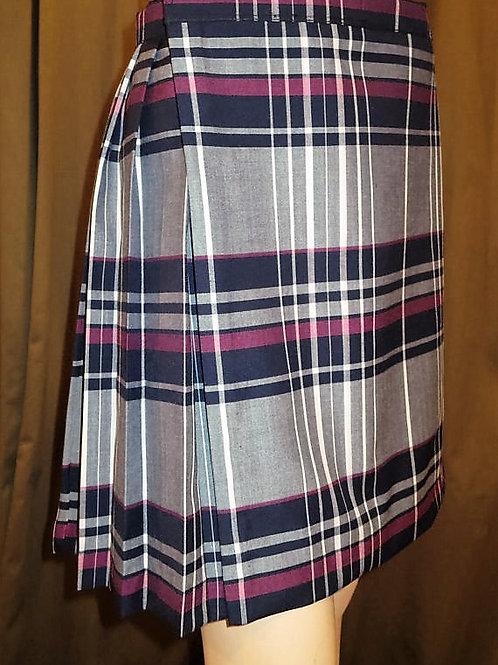 Maroon Gray Tartan Plaid Back Pleated Kilt~Ladies kilt~