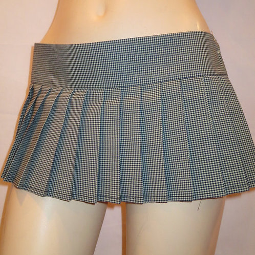 Beach Cover Up Mini Skirt~Pleated Gingham B/W Plaid