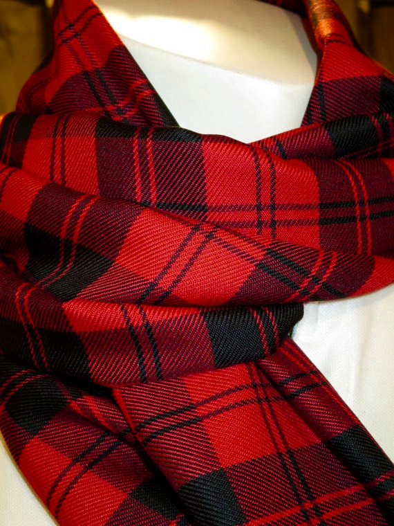 Menzies Red Plaid Fringe Scarf 70 Long Scarf (2)