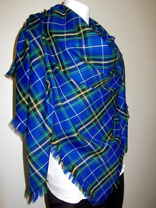 Nova Scotia Plaid  Blanket scarf~Blue Black Plaid Wraps, Shawls