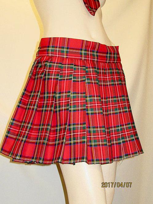 Royal Stewart Plaid Mini Skirt~Red Green Plaid Mini School Girl Skirt