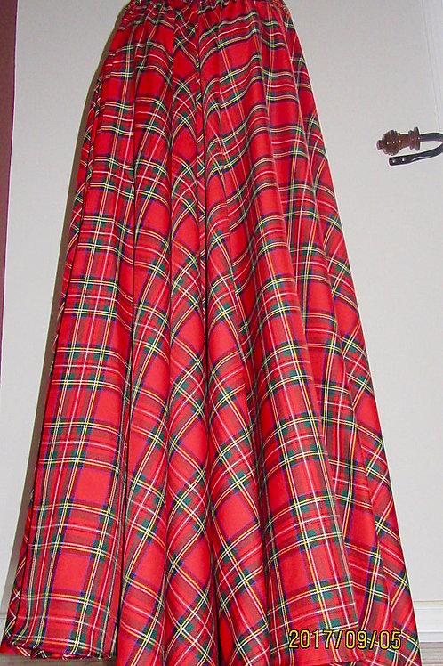 Red Royal Stewart Tartan Floor Length Circle Skirt w/ Side Pocket