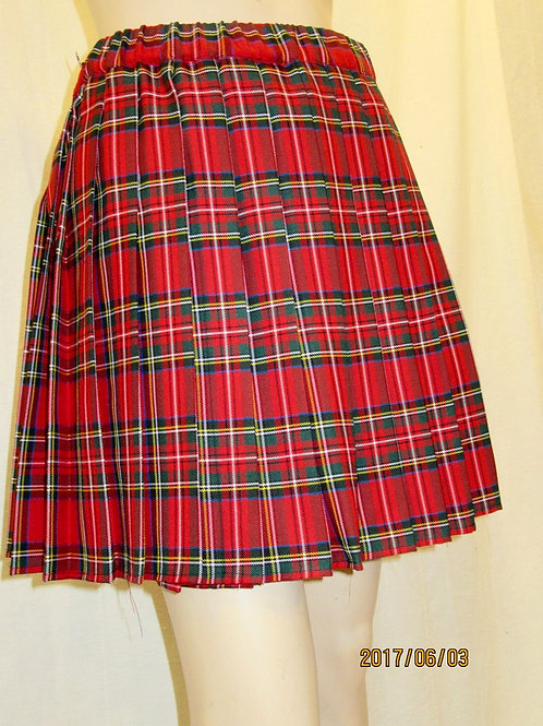 Elastic Waistband Red Royal Stewart Plaid Skirt~side pocket~Summer party Plaid