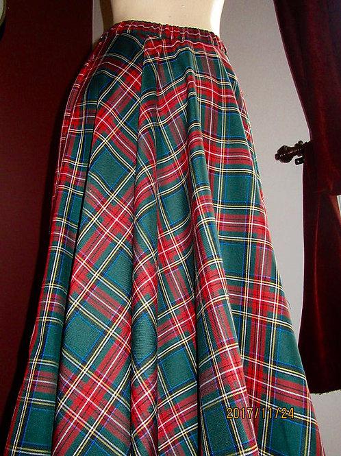 Green Stewart Red Green Plaid Maxi Skirt~Wedding full circle plaid skirt~