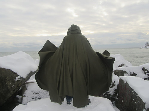 Medieval Army Green  Pure Wool Full Circle Cloak
