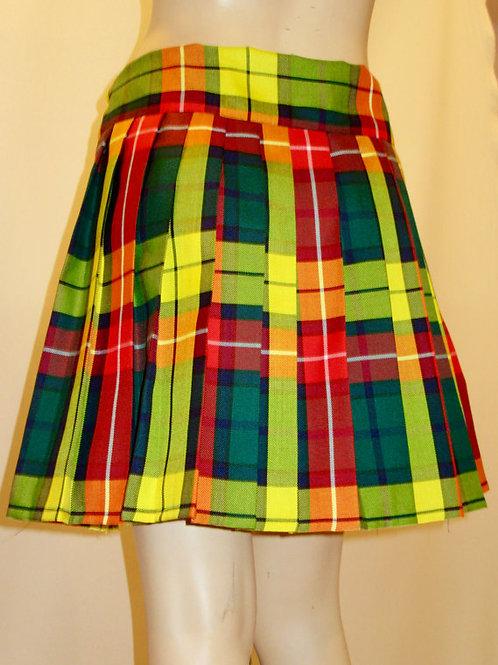 Buchanan Plaid Pleated Skater Skirt~Orange Yellow Green Plaid Skirt~Plus Size