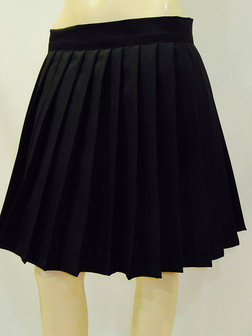 Solid Black Elastic Waistband Pleated Skirt~Side pocket~Plus Size Black Skirt