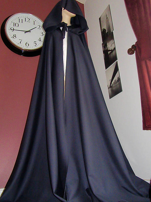 Ladies Dark Navy Blue Wool Blend Full Circle Cloak~Medieval,Cosplay Cloaks