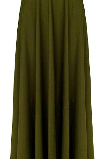 Army Green Full Circle Skirt-Maxi Skirts-Military Long Skirt-Olive Maxi Skirt-
