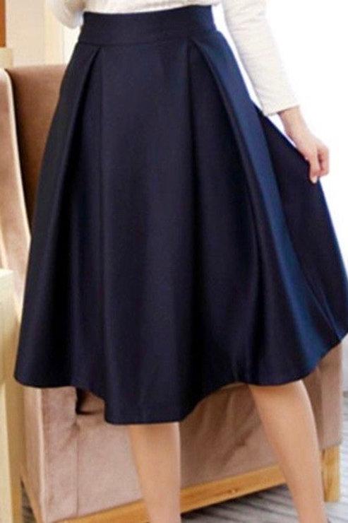High Waist Dark Navy Knife Pleated Skirt~School Girl Pleated Plaid Blue Skirt