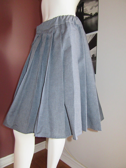Light Grey Skirt Plaid Elastic Waistband Pleated Skirt~Side pocket~Plus Sz
