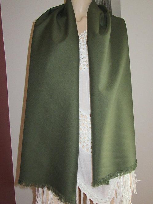 """Wool Blend Olive Green Fringe Scarf~Green Colour Men's fringe scarf~60""""scarf"""