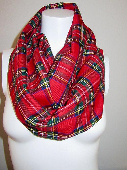 Red Royal Stewart Tartan Plaid Infinity Scarf~Christmas Scarf Gift