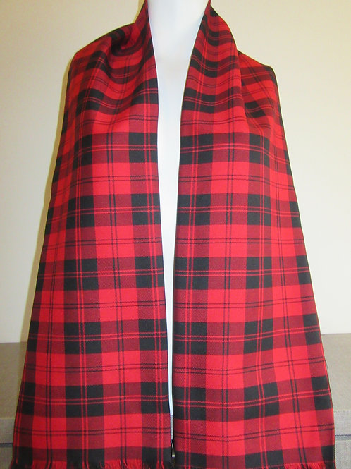 Menzies Red Plaid Fringe Scarf