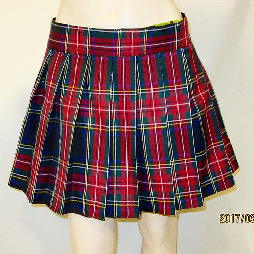 Black Stewart Plaid pleated Summer Skirt~Red Black plaid wrap around skirt~Plus