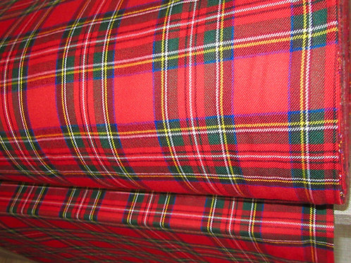 Royal Stewart Tartan Plaid~ BY YARD ~ Red Green Plaid