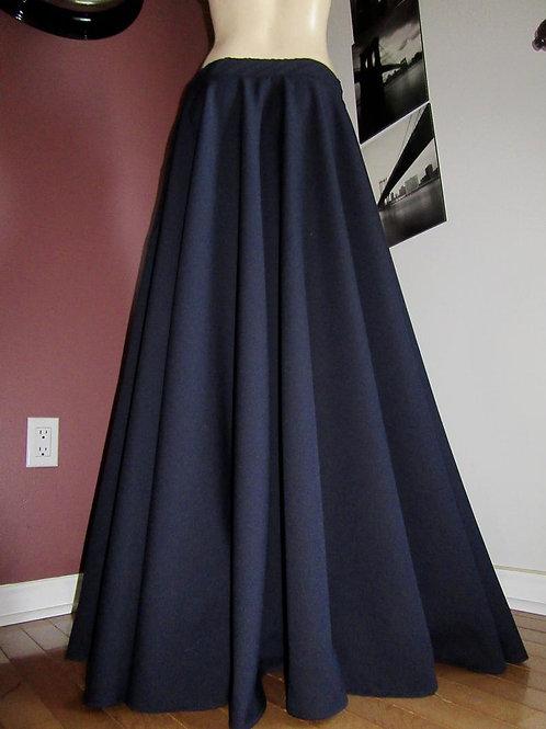 Dark Navy Blue Wool Blend Full Circle Skirt~Custom Make Plus Size Skirts