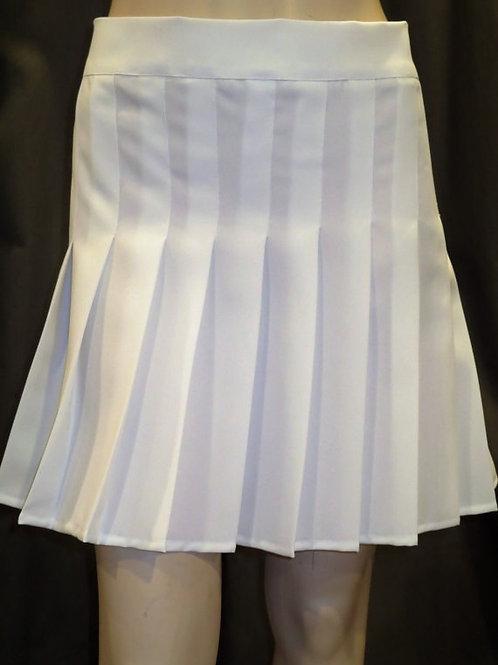 White cotton Sewn down pleated high waist skirts~Wrap around style skirt~Skater