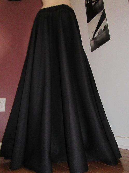 Solid Black Full Circle Skirt~Custom make black maxi skirt