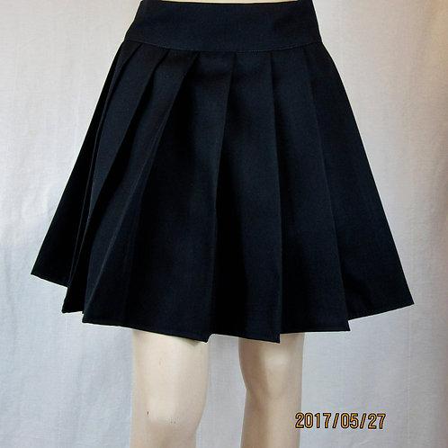 Solid Black Color High Waist Pleated plaid Skirt~School Girl Black Skirt~Plus Sz