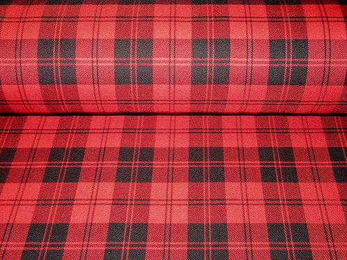 SALE BY 3, 5 or 10 YARDS ~ Red Menzies Tartan Fabric
