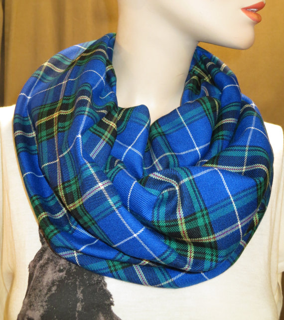 Nova Scotia Tartan Plaid Infinity Scarf Handmade Make~ (4)