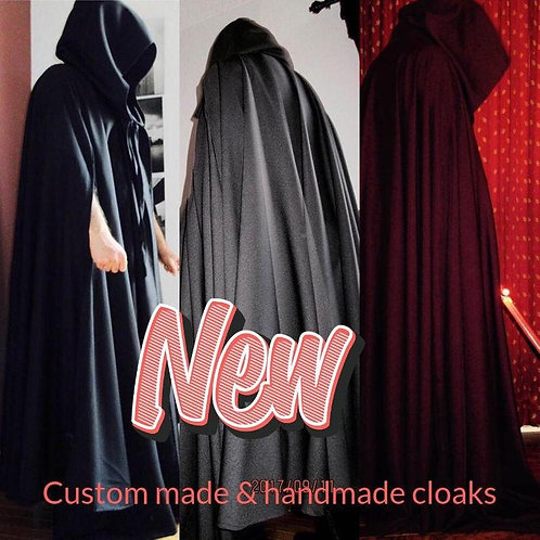 Gabardine Wool Cloak With Slit Arms~Solid Black Cloak For Cosplays