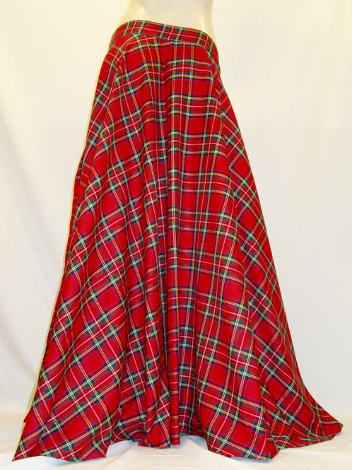 Red Plaid 1950's Style Floor Length Full Circle Sk