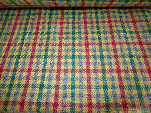 100%  WOOL Fabric, Ginger Color with Peacock Blue Tweed ~ Made in Italy ~