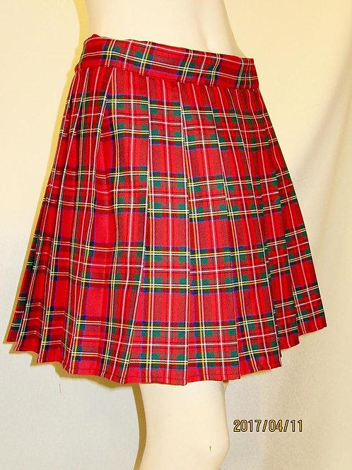 Royal Stewart Plaid Sewn down pleated high waist skirts~School Girl Plaid Skirt